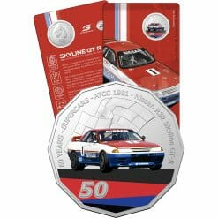 2020 50c 1991 Nissan R32 Skyline GT-R - 60 Years of Supercars Coloured Coin in Card