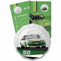 2020 50c 1984 Ford XE Falcon Greens-Tuf - 60 Years of Supercars Coloured Coin in Card