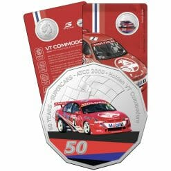 2020 50c 2000 Holden VT Commodore - 60 Years of Supercars Coloured Coin in Card