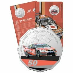 2020 50c 2008 Ford BF Falcon - 60 Years of Supercars Coloured Coin in Card