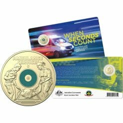 """2021 $2 Australian Ambulance Services """"C"""" Mintmark Uncirculated Coloured Coin in Card - AlBr"""