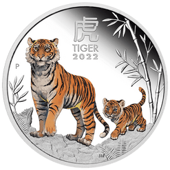 2022 Year of the Tiger 1oz .9999 Silver Proof Coloured Coin - Lunar Series III