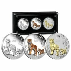 2022 Year of the Tiger Trio 1oz .9999 Silver Proof Three Coin Set - Lunar Series III